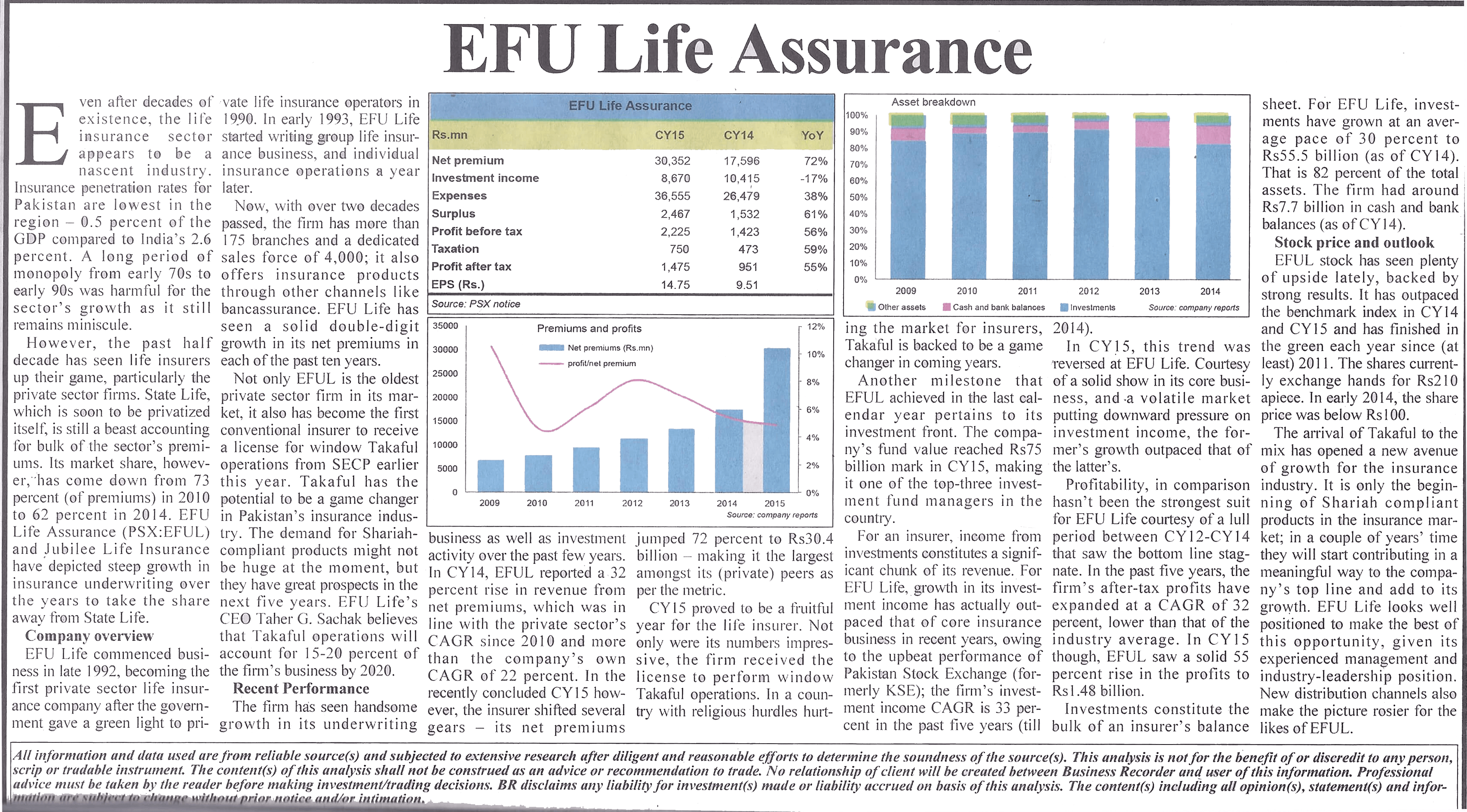 A report on EFU Life's Outstanding Business Performance in Business Recorder